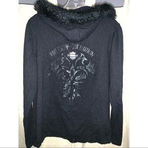 Harley Davidson zip up sweater with fur